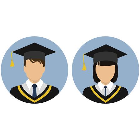 Set avatorki. Student, graduate. Stock vector.