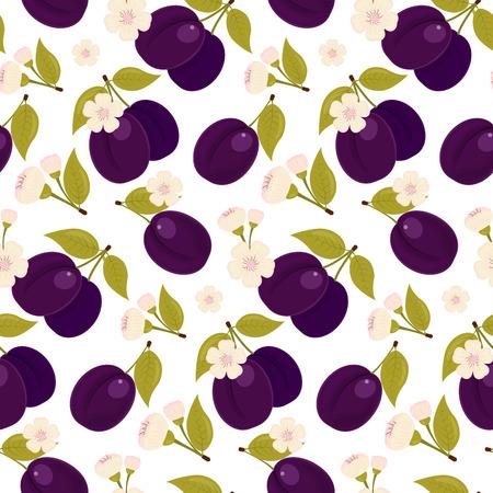 prune: seamless fabric. A ripe plum. Flower. Stock vector. Illustration
