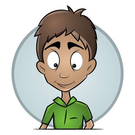Isolated avatars guy with a pleasant expression. A flat image of a male face. Hand-drawn vector drawing of a smiley face.