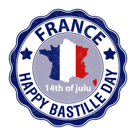 Happy Bastille Day, July 14. Viva France s National Day. Suitable for the design of your poster, banner, campaign, and a postcard. Stock Vector.