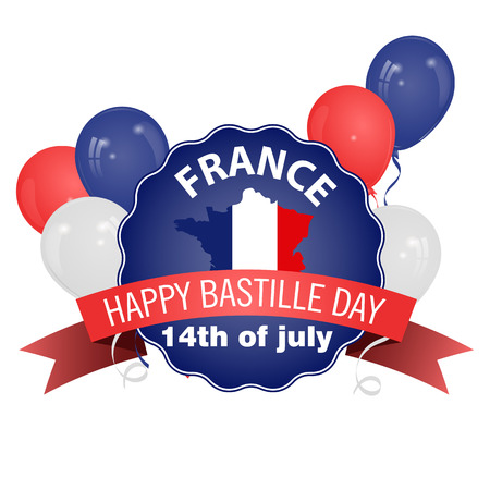 suitable: Happy Bastille Day, July 14. Viva France s national day. Vector Illustration. Balloons. Suitable for the design of your poster, banner, campaign, and a postcard.