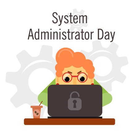 authority: Day of the system administrator. Cartoon, funny picture woman by your system administrator. Stock vector.