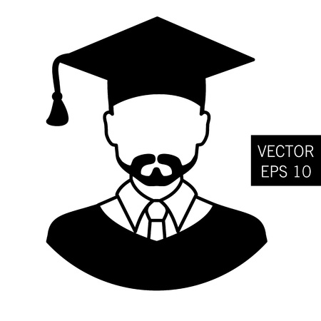 inspect: Icon graduation teacher, tutor graduation icon vector icon graduation the image of the teacher, educator outlet icon. Thick outline. Stock vector.