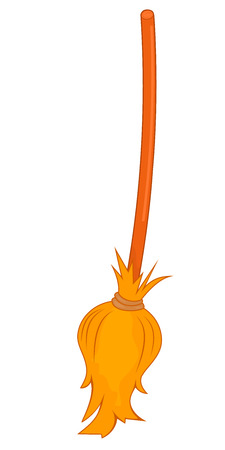 A broom of twigs to a long wooden handle. Vector illustration. Broom on a white background. Witches broom on Halloween and Christmas.