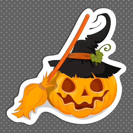 Sticker Halloween for your design. Flat design. The Symbols Of Halloween. Stock vector.
