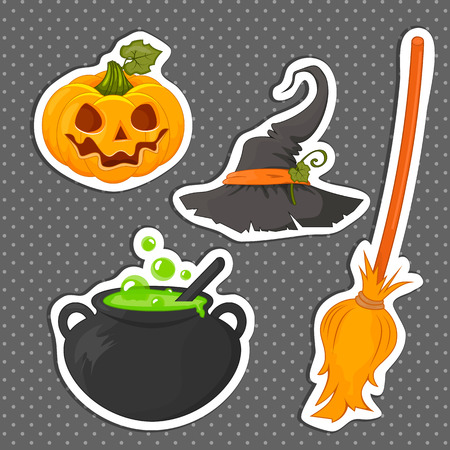 boiler: Set of stickers Halloween related objects and creatures. Set of Halloween icons for your design. Flat design. The Symbols Of Halloween. Stock vector.