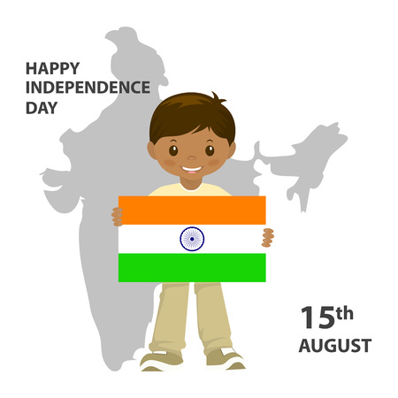 The Flag Of India. Official colors and proportion correctly. A boy is holding a flag. Indian Independence Day concept background with Ashoka wheel. Vector Illustration.