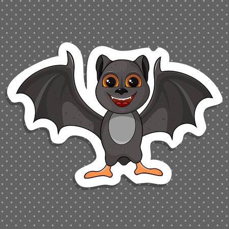 Illustration of cute cartoon Halloween sticker bat flies. Isolated white background. Stock vector.