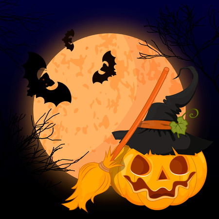 Vector illustration of a scary Halloween design. A bright moon pumpkin scary grins. Illustration