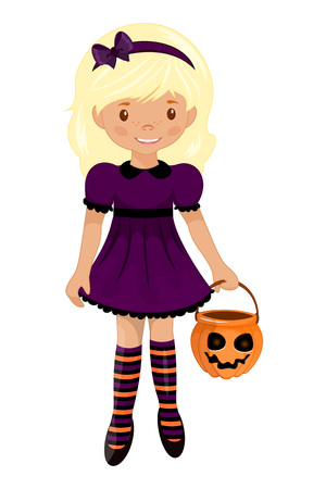 Cute colorful Halloween baby kit. The girl in the witch outfit. Trick or treat. Vector illustration.