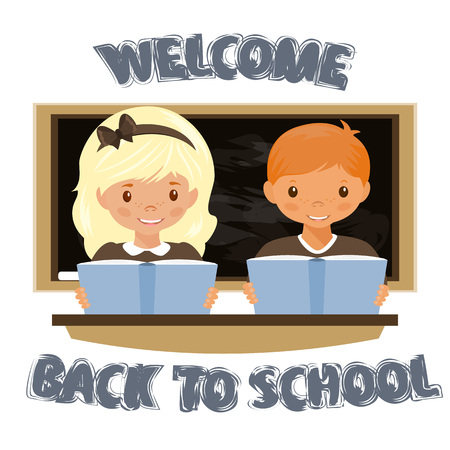 forget: Children sitting at the Desk . Welcome to the school. The return to school. Stock vector.