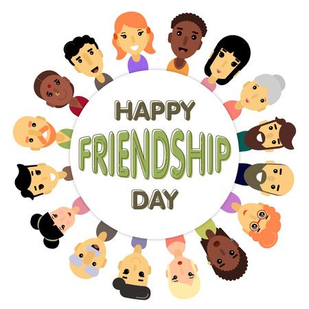 日中国際友好のシンボルとして異なる性別や国籍の友達の輪。友情の国際デーのバナーのベクトル イラスト。