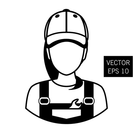 Icon mechanic. Repair girl avatar. Car Repair. Icon flat circle style. Thick outline. Stock vector. Stock Photo