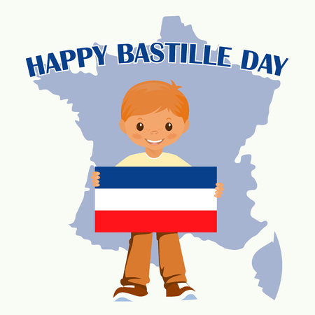 gallic: Smiling child boy holding a France flag isolated on a white background. Vector cartoon mascot. Holiday illustrations for the Bastille day. Stock vector.