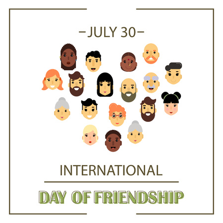 genders: The heart of friends of different genders and nationalities as a symbol of International Friendship day. Vector illustration of banner for the International Day of friendship.