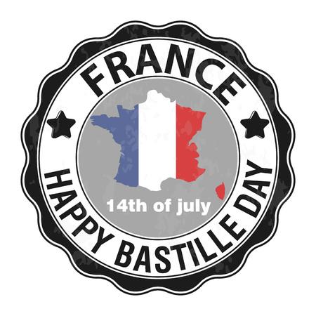 해피 바스티유의 날, 7 월 14 일. 비바 프랑스의 국경일. 벡터 일러스트 레이 션. 우표, 둥근 상징. 회색. 포스터, 배너, 캠페인 및 엽서 디자인에 적합합