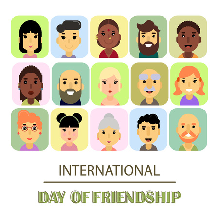 genders: A lot of friends of different genders and nationalities as a symbol of International Friendship day. Vector illustration of banner for the International Day of friendship.