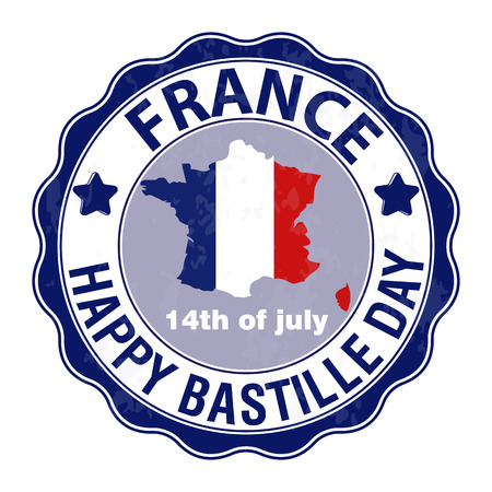 Happy Bastille Day, July 14. Viva France s national day. Vector Illustration. Stamp, round emblem. Suitable for the design of your poster, banner, campaign, and a postcard.