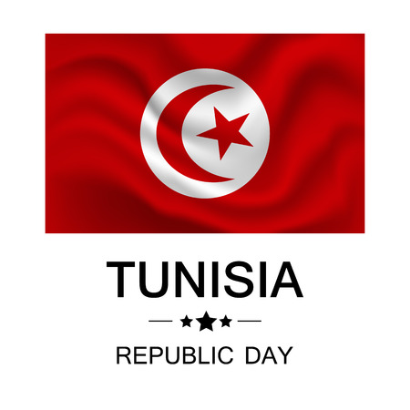 independency: A Vector illustration of Republic Day Tunisia.The national red flag of Tunisia. Illustration