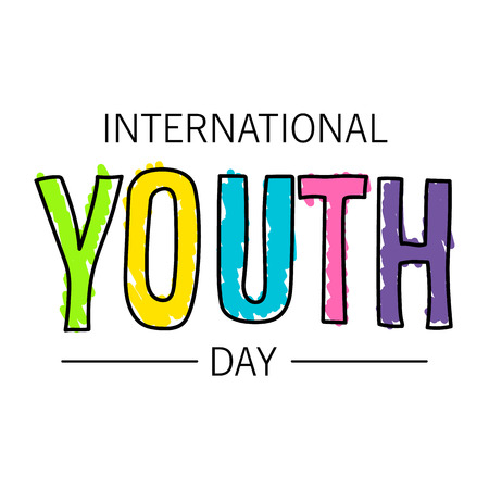 The youth day. The inscription is written in pen. Bright colors and a thick marker. Stock vector.