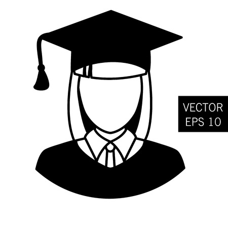 Teacher graduation icon tutor icon vector graduation prom image teacher icon teacher outlet. Woman. Thick outline. Stock vector.
