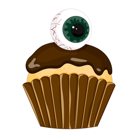 Vector illustration of a Halloween purple cupcake isolated white background. Happy Halloween scary sweets. Sweet big eyes.