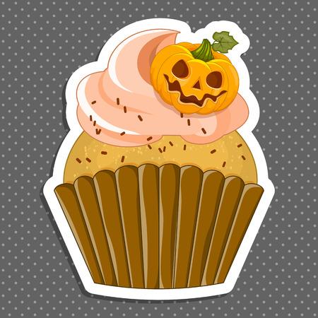 cute ghost: Vector illustration of a Halloween purple cupcake sticker. Happy Halloween scary sweets. Sweet pumpkin.