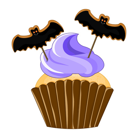 Vector illustration of a Halloween purple cupcake isolated white background. Happy Halloween scary sweets. Sweet bat.