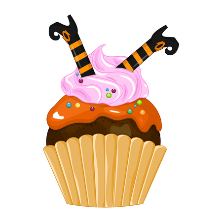 Vector illustration of a Halloween purple cupcake isolated white background. Happy Halloween scary sweets. Sweet boots witch.