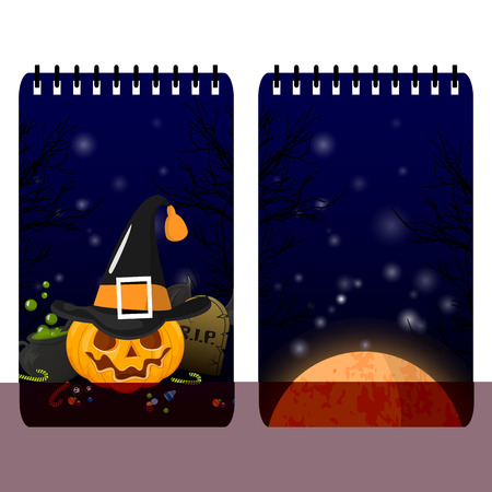 halloween background: Halloween card with cute illustration pattern. Template for memo pads and notebooks. Stock vector
