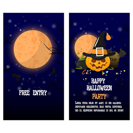 Halloween two sides poster, flyer or menu design. Vector illustration. Scary party invitation with witch hat, cauldron and the scheme. Place for your text message. Illustration