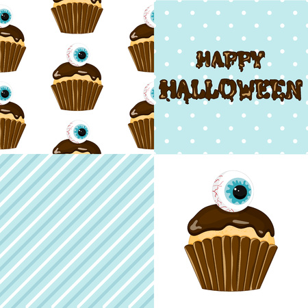 Stock vector. Sweet cupcake on the occasion of Halloween. Creepy human eyes. Set for your design.