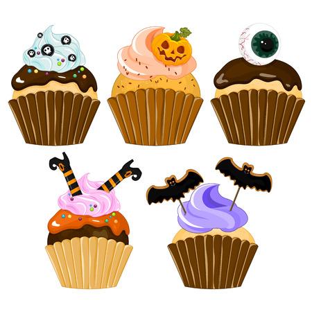 Cupcake de Halloween. Conjunto de cupcake en Halloween, vectoriales Foto de archivo - 84173898