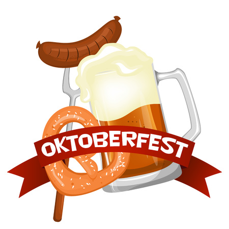 Oktoberfest. Welcome to the beer festival. The invitation, flyer or poster for the holiday. Stock vector.