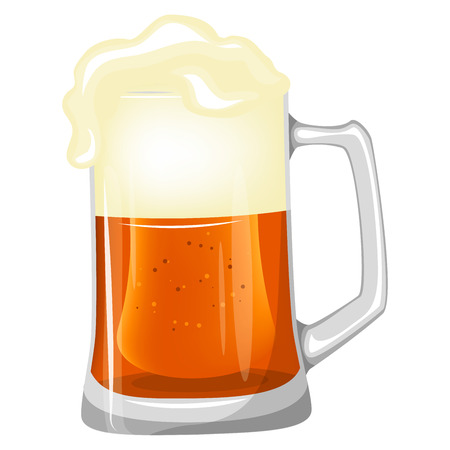 A large mug of beer isolated on a white background. Stock vector.
