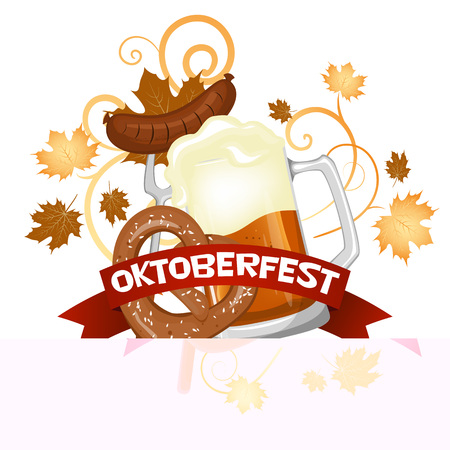 Oktoberfest. Welcome to the beer festival invitation, flyer or poster for the holiday with a glass of beer stock vector.