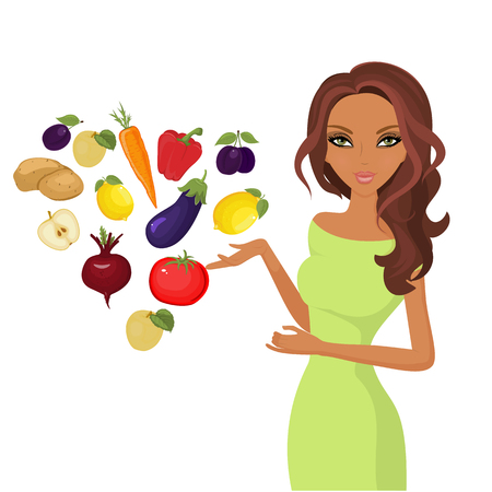 pharmacy symbol: World day of vegetarianism. Isolated white. Cute girl cartoon chooses to eat vegetables and fruits. Various fruits and vegetables. Vector illustration.