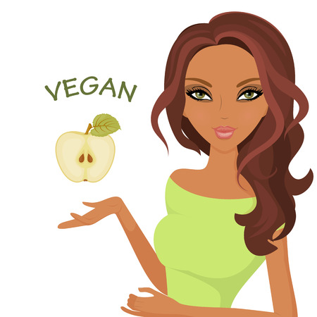 pharmacy symbol: World day of vegetarianism. Isolated white background. Woman hand holding the Apple. Vector illustration.