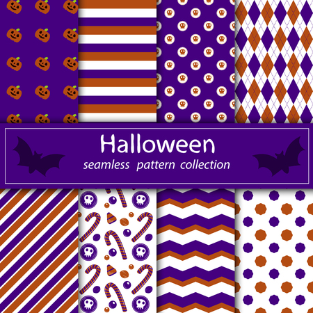 A set of paintings. Stock plum fabric Halloween orange purple. happy and merry holiday.