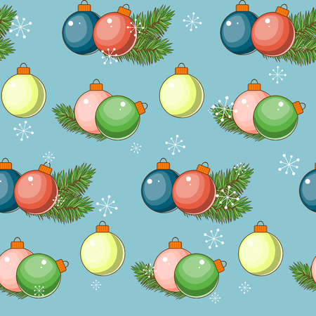 Merry Christmas and happy New year. Seamless pattern with balloons on a blue background. Vector illustration. Vettoriali