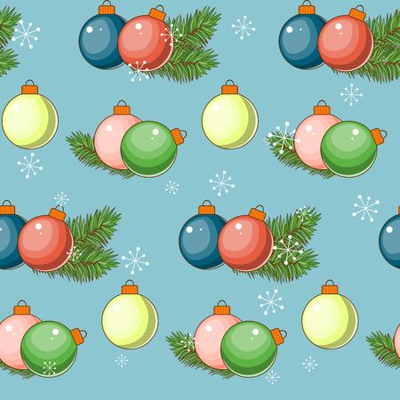 Joyeux Noel et bonne année. Modèle sans couture avec des ballons sur un fond bleu. Illustration vectorielle Banque d'images - 87466294