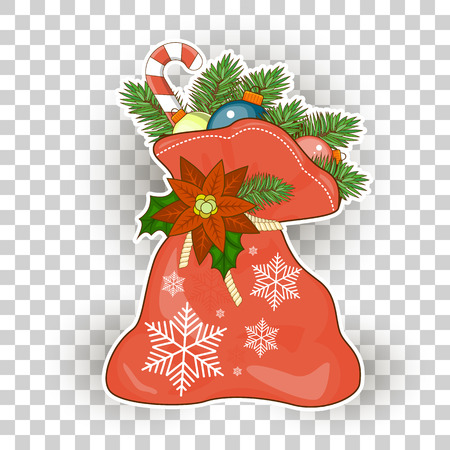 Christmas gifts Santa Claus vector illustration isolated on white background sticker for your design.