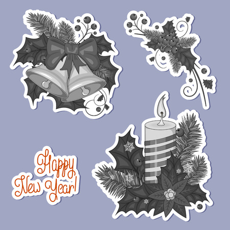 Set of stickers colorful cartoon illustration of Christmas bells. Set of elements for your design. Stock vector. Happy new year and Christmas. Gray color vector illustration.