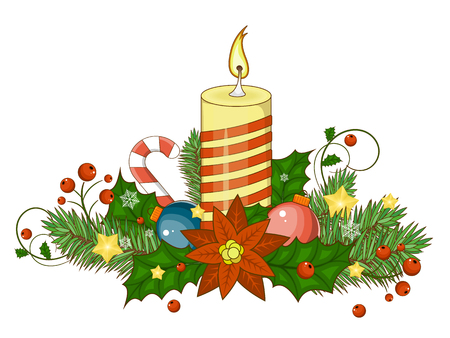 Decorative border from a traditional Christmas items. Vector illustration. Cartoon illustration for your Christmas design .