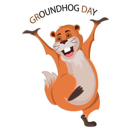 Happy Groundhog Day design with cute groundhog.Vector Stock Illustration