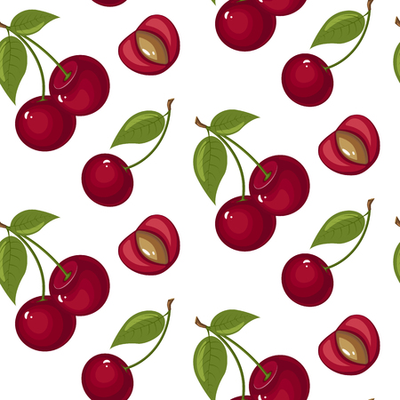 Cute cherry seamless pattern. Good for textile, wrapping, wallpapers. Sweet red ripe cherries isolated on white background. Vector illustration. Illustration
