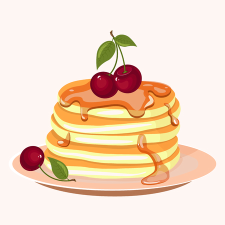 Pancakes with berries and honey icon. Cartoon vector illustration isolated on white background.