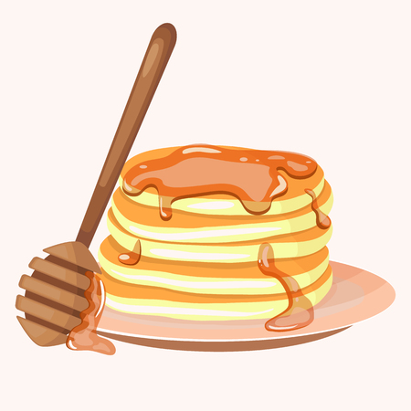 Pancakes and honey icon. Cartoon vector illustration isolated on white background. Иллюстрация