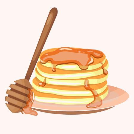 Pancakes and honey icon. Cartoon vector illustration isolated on white background. Illustration