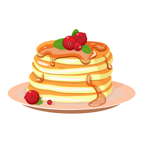 Stack of pancakes on a plate with whipped cream and cranberries Vector illustration